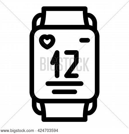 Runner App Heart Pulse Icon. Outline Runner App Heart Pulse Vector Icon For Web Design Isolated On W