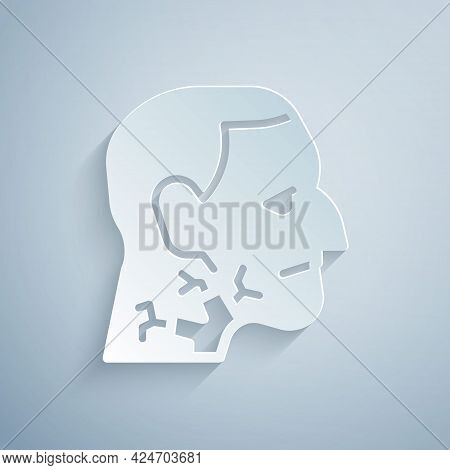 Paper Cut Throat Cancer Icon Isolated On Grey Background. Laryngeal Cancer. Paper Art Style. Vector