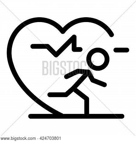Runner Heart Rate Icon. Outline Runner Heart Rate Vector Icon For Web Design Isolated On White Backg