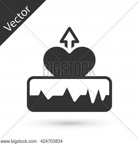 Grey Heartbeat Increase Icon Isolated On White Background. Increased Heart Rate. Vector