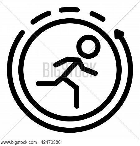 Runner Phone App Icon. Outline Runner Phone App Vector Icon For Web Design Isolated On White Backgro