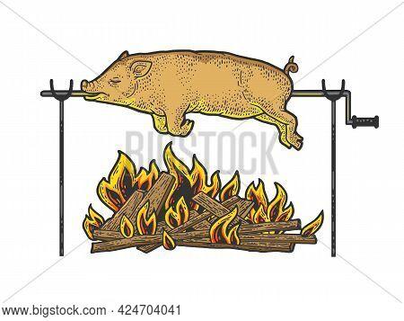 Bonfire Pig Pork Color Line Art Sketch Engraving Vector Illustration. T-shirt Apparel Print Design.