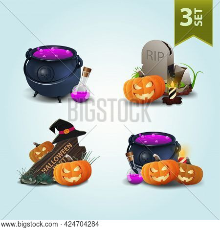 Set Of Halloween Icons Isolated For Your Arts. Witchs Cauldron, Tombstone And Pumpkin Jack