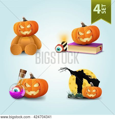 Large Set Of Halloween Icons Isolated On White For Your Arts. Pumpkin Jack, Scarecrow And Witchs Poi