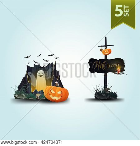 Halloween Icons Isolated On White For Your Arts. Ghost And Pumpkins