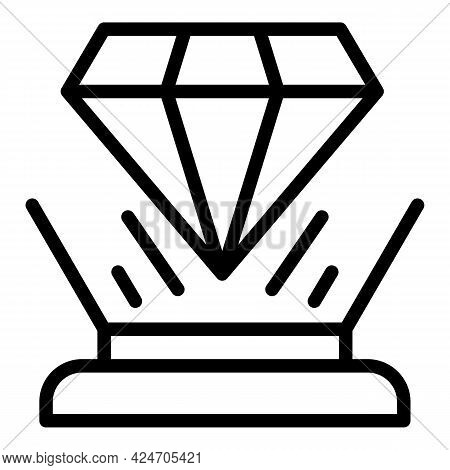 Diamond Hologram Projection Icon. Outline Diamond Hologram Projection Vector Icon For Web Design Iso
