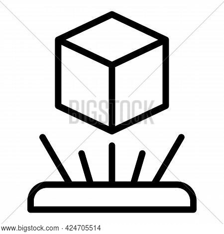 Cube Hologram Projection Icon. Outline Cube Hologram Projection Vector Icon For Web Design Isolated