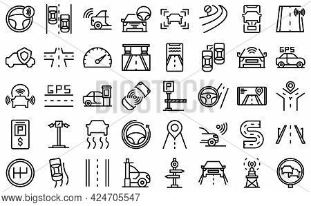 Road Sensors Icons Set. Outline Set Of Road Sensors Vector Icons For Web Design Isolated On White Ba