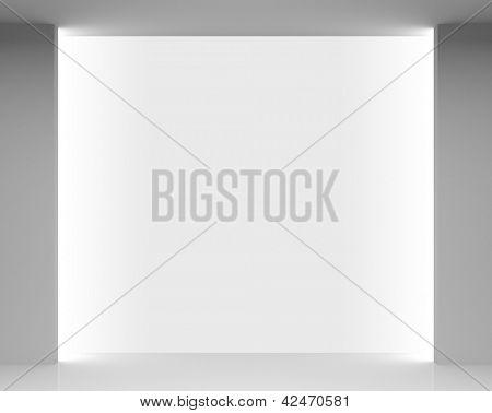 Empty white store interior with brightly illuminated showcase