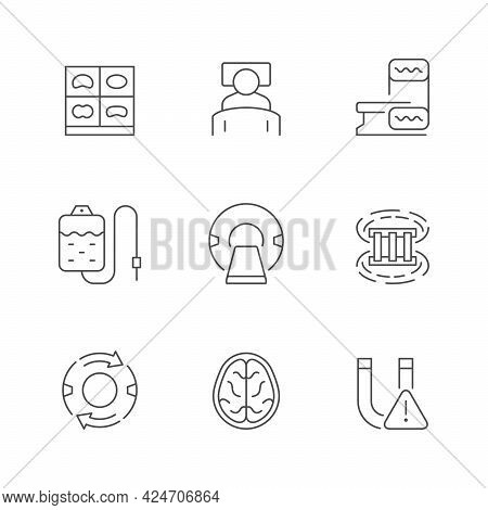 Set Line Icons Of Mri And Ct Scan Isolated On White