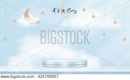 Baby Shower Greeting Card For Little Boy On Blue Sky With Fluffy Background, Vector Cute Backdrop Fo