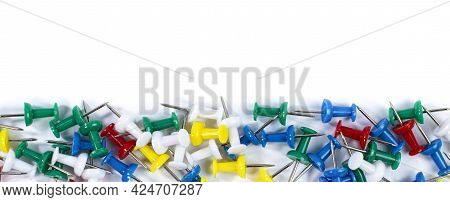 Set Of Colored Office Pushpins On A White Background As A Frame. Place For Text, Flat Lay, Copy Spac