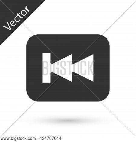 Grey Rewind Button Icon Isolated On White Background. Vector