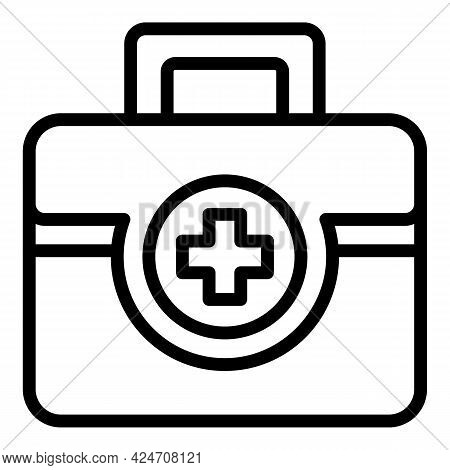 Campsite First Aid Kit Icon. Outline Campsite First Aid Kit Vector Icon For Web Design Isolated On W