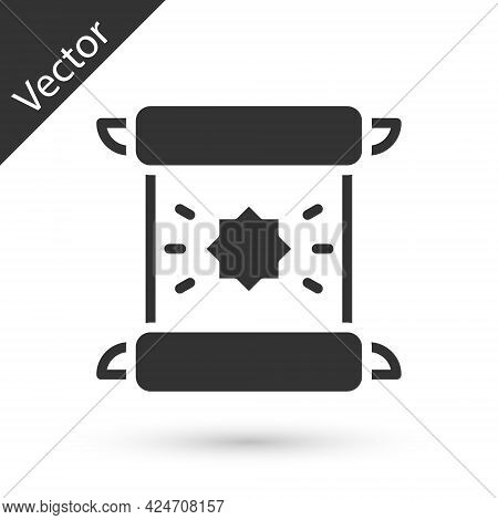 Grey Decree, Paper, Parchment, Scroll Icon Icon Isolated On White Background. Vector