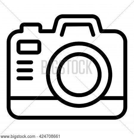Campsite Camera Icon. Outline Campsite Camera Vector Icon For Web Design Isolated On White Backgroun