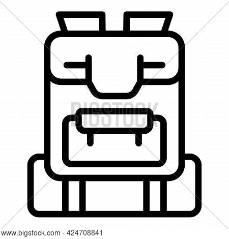 Campsite Backpack Icon. Outline Campsite Backpack Vector Icon For Web Design Isolated On White Backg