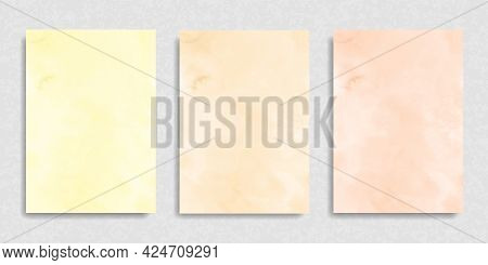 Set Of Watercolor Peach Beige Yellow Background For Paper Design. Soft Pastel Wallpaper. Illustratio