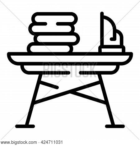 Ironing Board Clothes Icon. Outline Ironing Board Clothes Vector Icon For Web Design Isolated On Whi