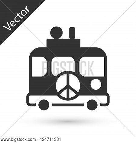 Grey Hippie Camper Van Icon Isolated On White Background. Travel By Vintage Bus. Tourism, Summer Hol