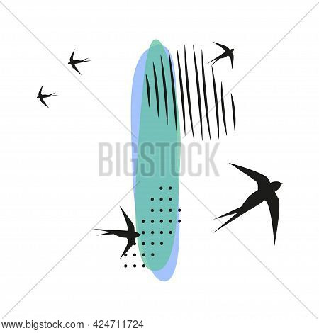 Minimalistic Pattern An Oriental Style In Form Of Letter I. Flock Of Swallows Flies. Abstract Object
