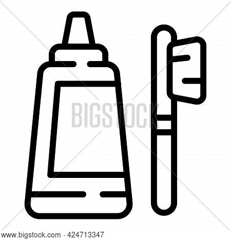 Toothcare Toothbrush Icon. Outline Toothcare Toothbrush Vector Icon For Web Design Isolated On White