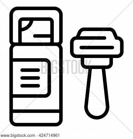 Man Razor Shave Icon. Outline Man Razor Shave Vector Icon For Web Design Isolated On White Backgroun