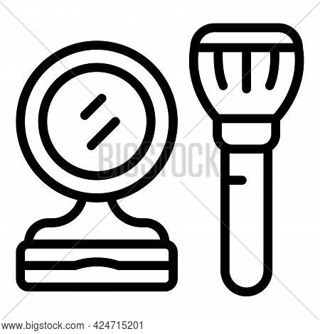 Korean Cosmetics Brush Icon. Outline Korean Cosmetics Brush Vector Icon For Web Design Isolated On W