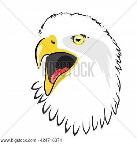 Color Image Of An Eagle Head With An Open Beak Vector Illustration