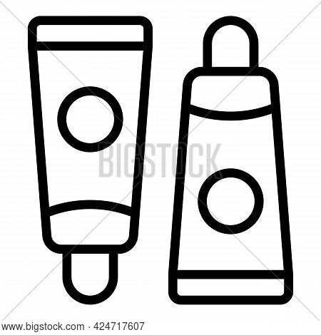 Korean Cosmetics Skin Cream Tube Icon. Outline Korean Cosmetics Skin Cream Tube Vector Icon For Web