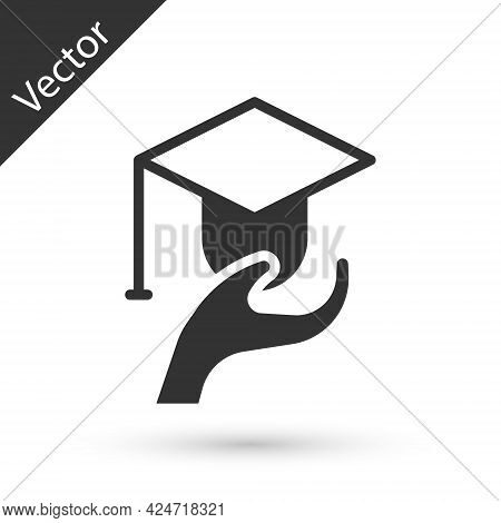 Grey Education Grant Icon Isolated On White Background. Tuition Fee, Financial Education, Budget Fun