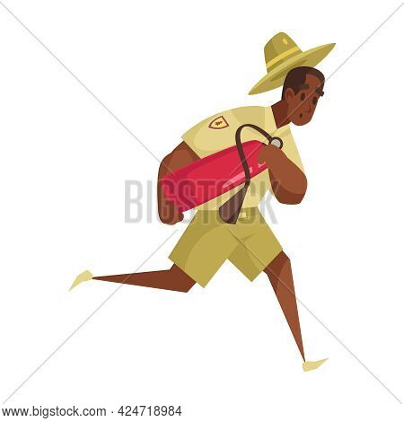 Cartoon Icon Of Worried Male Forest Ranger Running With Fire Extinguisher Vector Illustration