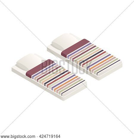 Two Refugees Beds With Striped Linen Isometric Icon Isolated Vector Illustration