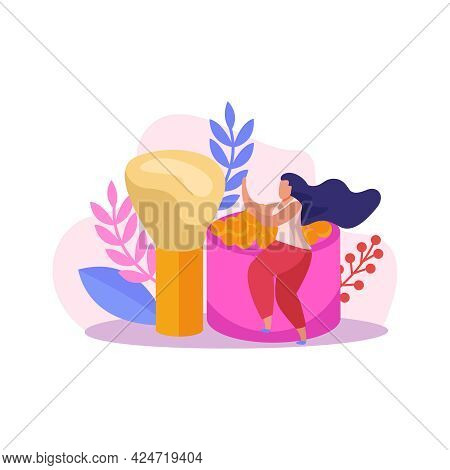 Flat Icon With Box Of Loose Makeup Powder Brush And Female Character Vector Illustration