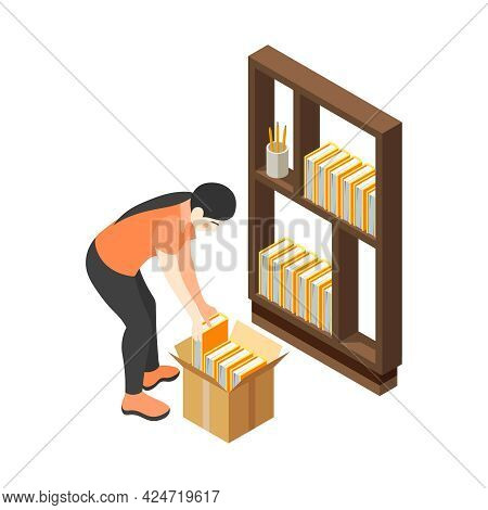 Renovation Removal Into House Isometric Icon With Character Putting Books On Shelves 3d Vector Illus