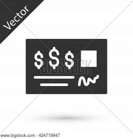 Grey Blank Template Of The Bank Check And Pen Icon Isolated On White Background. Checkbook Cheque Pa