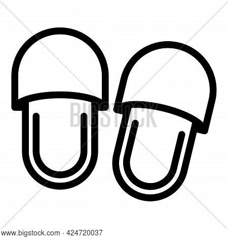 Home Slippers Textile Icon. Outline Home Slippers Textile Vector Icon For Web Design Isolated On Whi