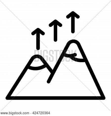 Mountains Growing Icon. Outline Mountains Growing Vector Icon For Web Design Isolated On White Backg