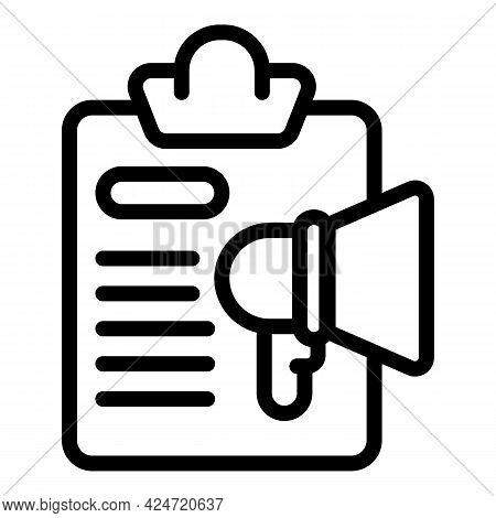 Clipboard Megaphone Icon. Outline Clipboard Megaphone Vector Icon For Web Design Isolated On White B