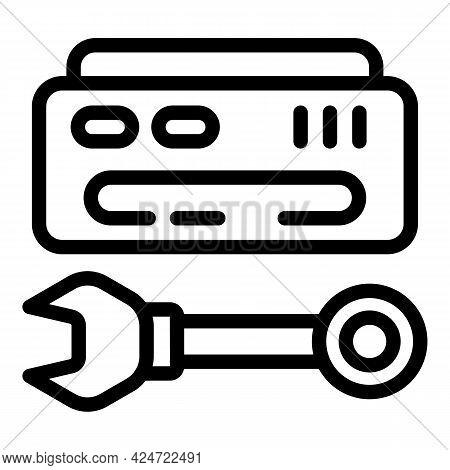 Repair Air Conditioner Key Icon. Outline Repair Air Conditioner Key Vector Icon For Web Design Isola