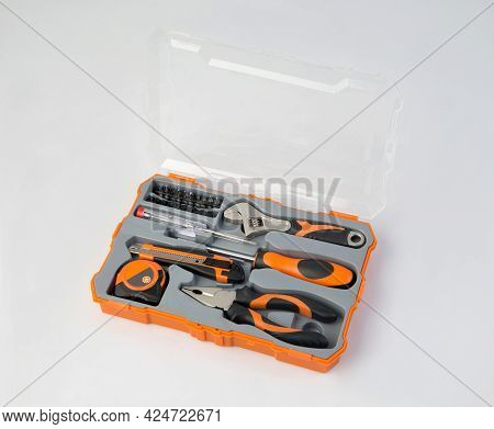 Orange Color Tool Box With Instrument And Tools Isolated On White Background
