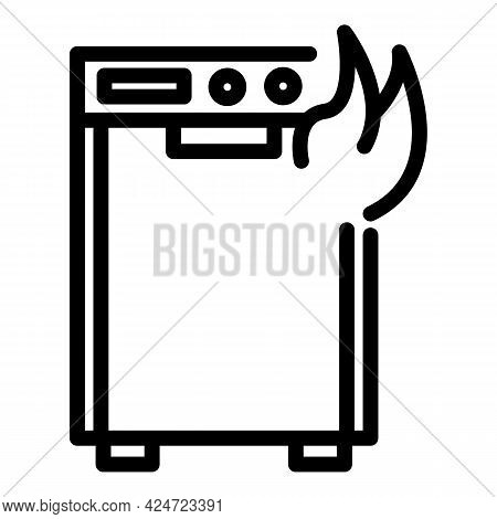 Repair Dishwasher Fire Icon. Outline Repair Dishwasher Fire Vector Icon For Web Design Isolated On W