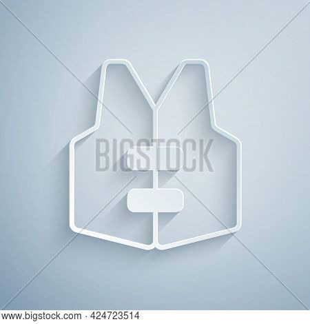 Paper Cut Life Jacket Icon Isolated On Grey Background. Life Vest Icon. Extreme Sport. Sport Equipme