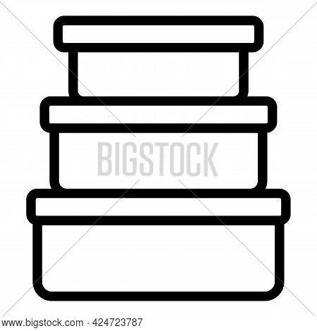 Take Away Food Plastic Boxes Icon. Outline Take Away Food Plastic Boxes Vector Icon For Web Design I