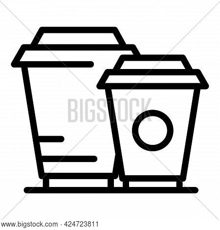 Take Away Drinks Cups Icon. Outline Take Away Drinks Cups Vector Icon For Web Design Isolated On Whi