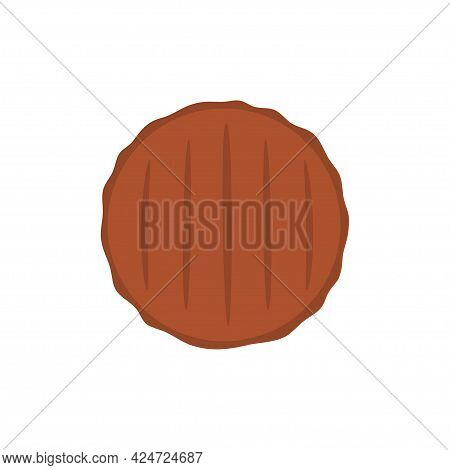 Beef Cutlet Isolated On White Background, Burger Meat Cutlet With Grill Marks In Cartoon Style, Vect