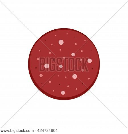 Cartoon Salami Sausage Slice Isolated On White Background, Meat Delicacy Food Icon, Vector Illustrat