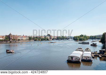 Prague, Czech Republic - July 23, 2019: Vltava River And Pleasure Boats In Center Of Prague, Sunny S