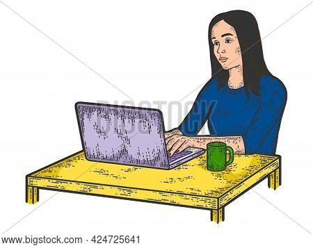 Unhappy Girl Freelancer Works At The Laptop. Sketch Scratch Board Imitation Color.