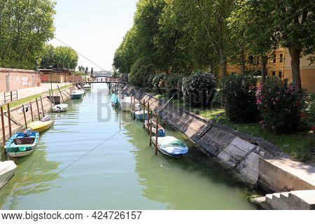 Italy Venice Waterway With Many Boats In The Island Of Sant Elena Near The Stadium